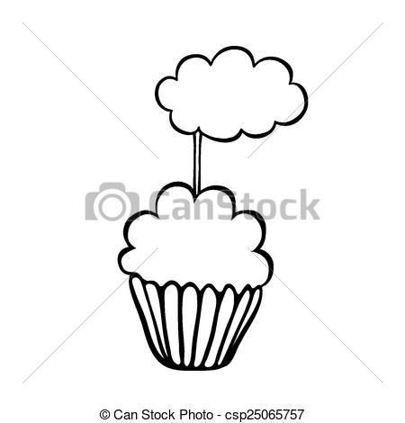 450x470 Cupcake Sketch Cloud Topper. Cupcake Decorated