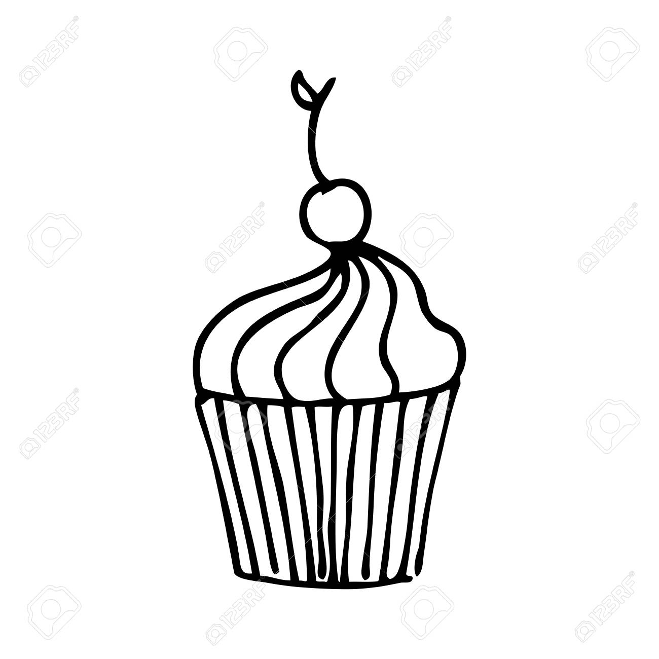 1300x1300 Delicious Cupcake Drawing Icon Vector Illustration Design Royalty