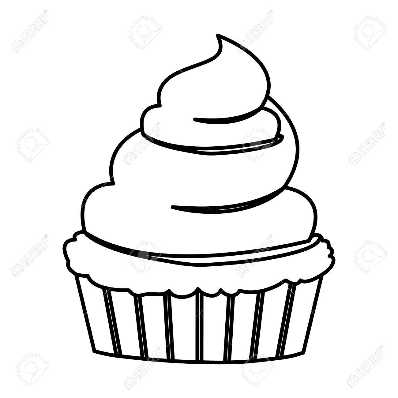 1300x1300 Sketch Contour Of Hand Drawing Cupcake With And Vainilla