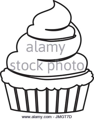 300x384 Sketch Contour Of Hand Drawing Cupcake With Buttercream Decorative