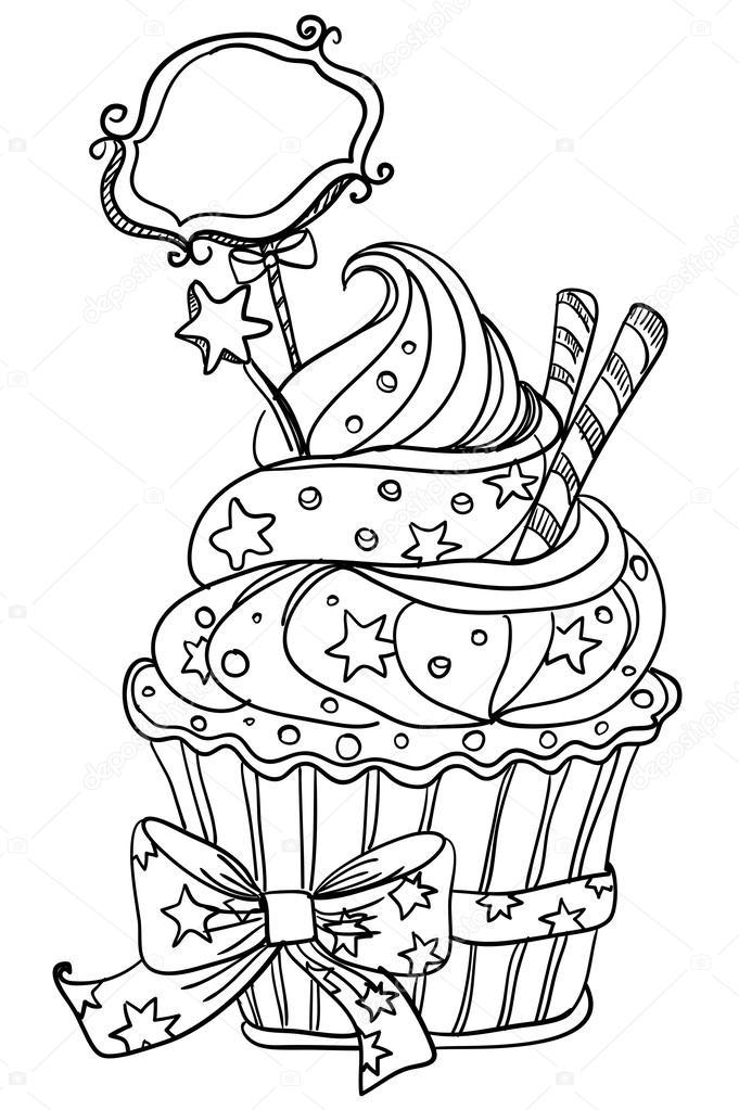 681x1023 Vector Hand Drawing Cupcake Stock Vector Marina99