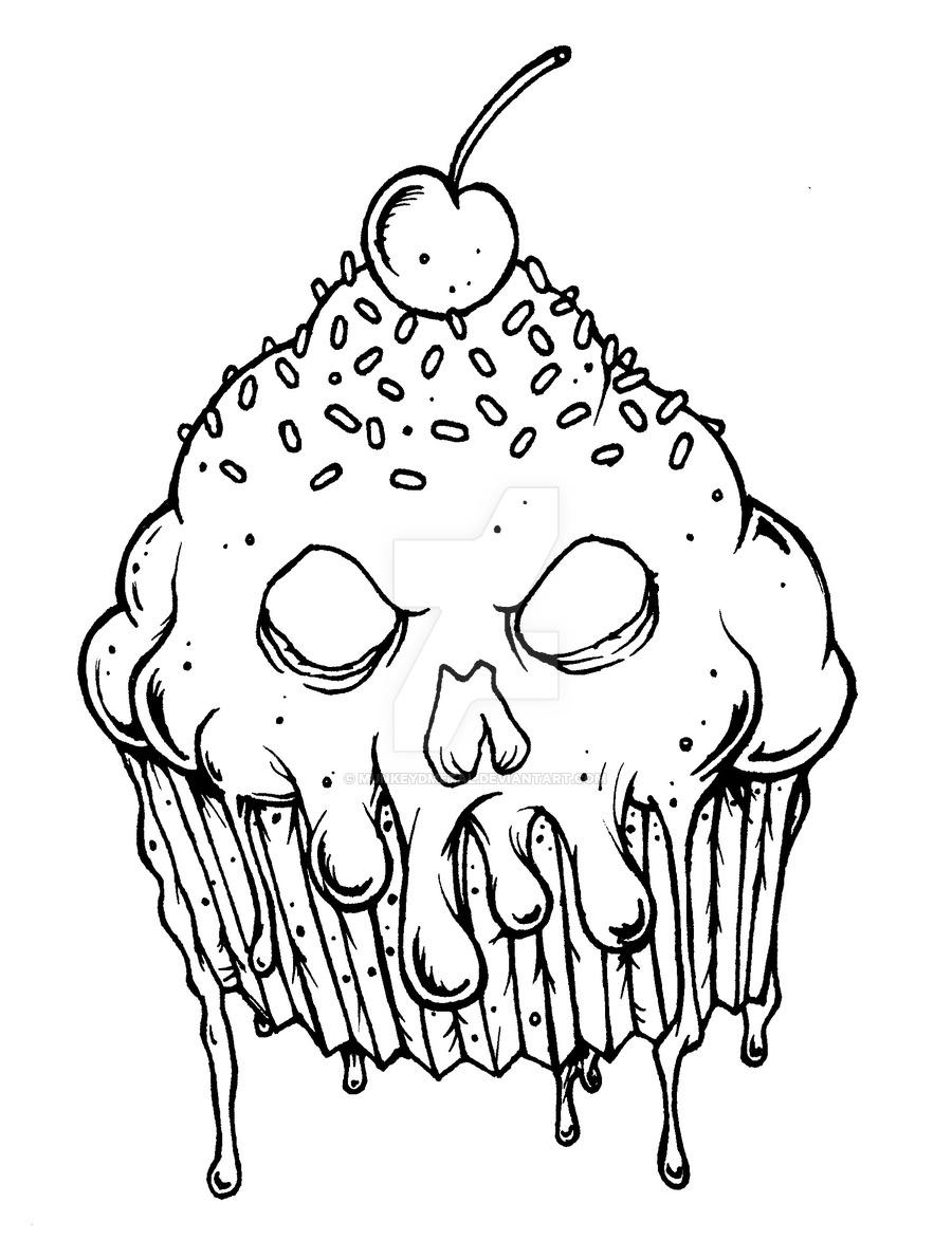 900x1173 Evil Cupcake By Munkeydmetal Watch Traditional Art Drawings