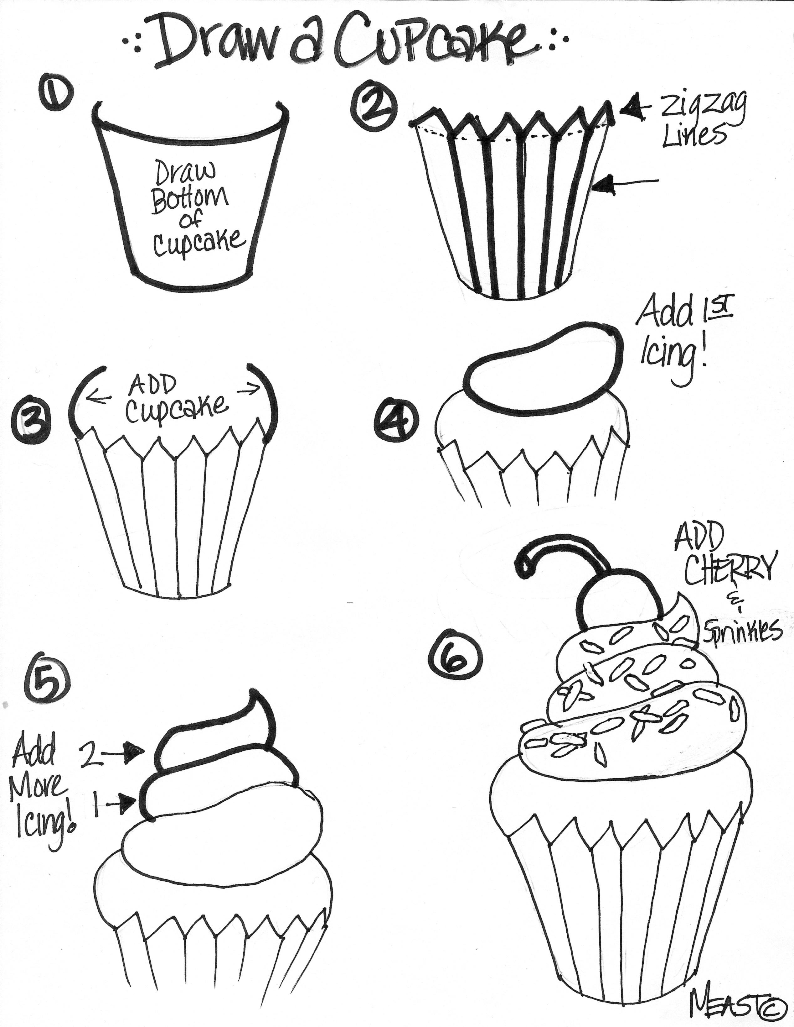 2536x3277 Cupcake Draw Step By Step
