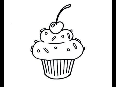 Cupcake Line Drawing At Getdrawings Com