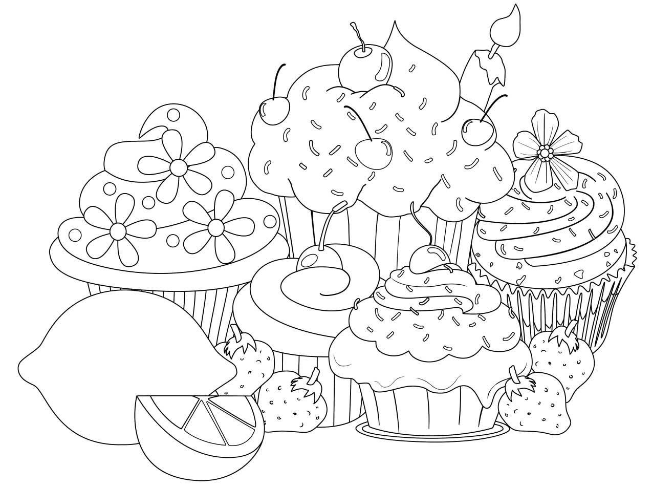1274x951 Cupcakes Coloring Pages Printable For Kids