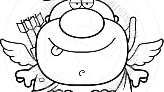 570x320 Cupid Drawing Cartoon Cartoon Cupid Man Sitting (Black And White