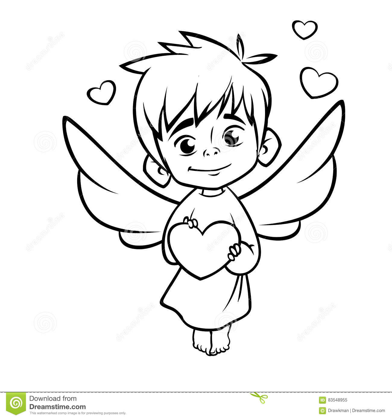1300x1390 Cupid Drawing Cartoon Illustration Of Outlined Baby Cupid Hugging