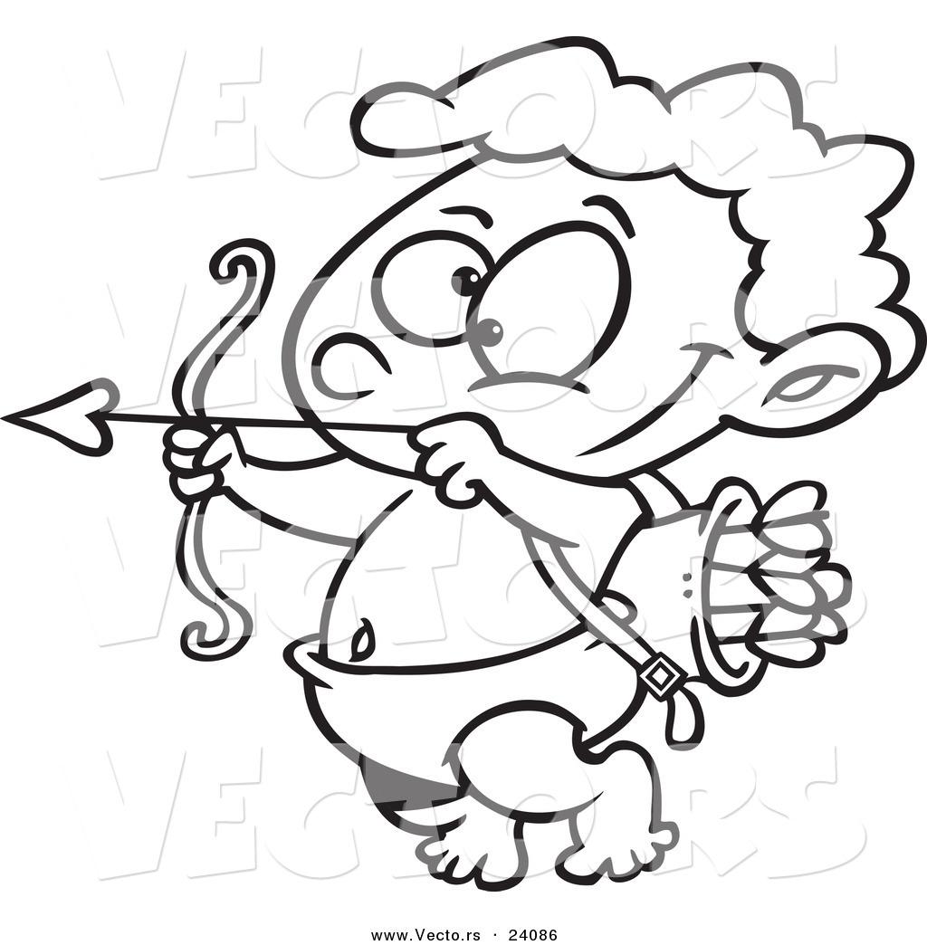 1024x1044 Cupid Drawing Cartoon Vector Of A Cartoon Little Cupid Practicing