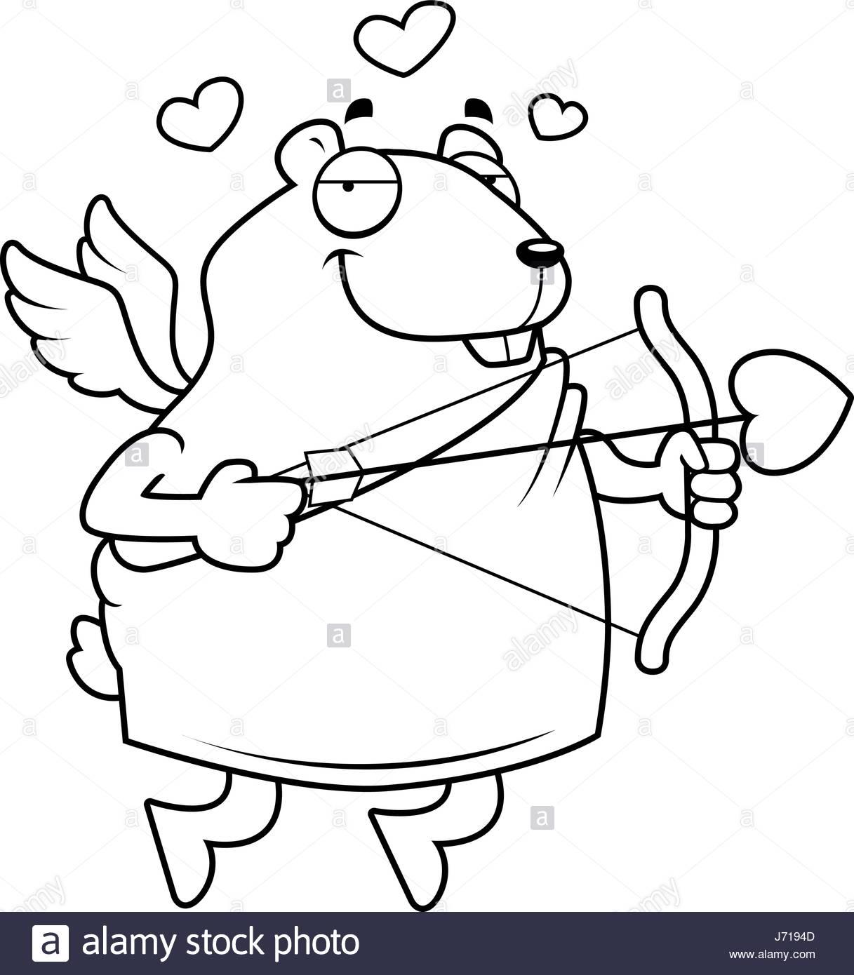 1217x1390 A Happy Cartoon Hamster Cupid With A Bow And Arrow Stock Vector