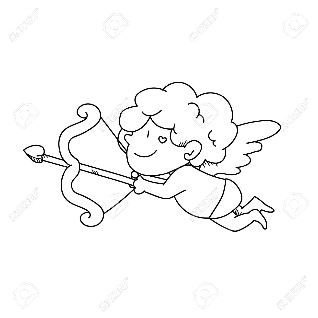 1300x1300 Freehand Drawing Cupid Cartoon Illustration Stock Photo, Picture