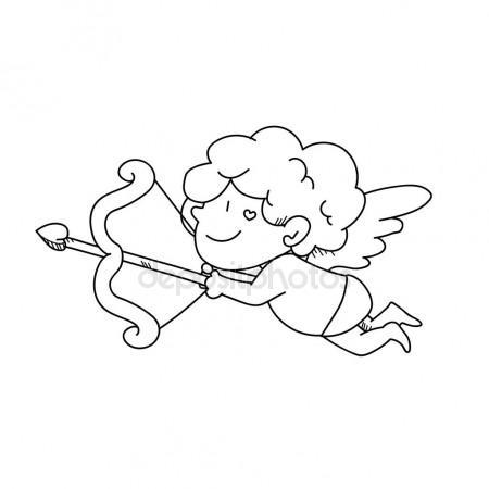 450x450 Freehand Drawing Cupid Cartoon Illustration Stock Photo