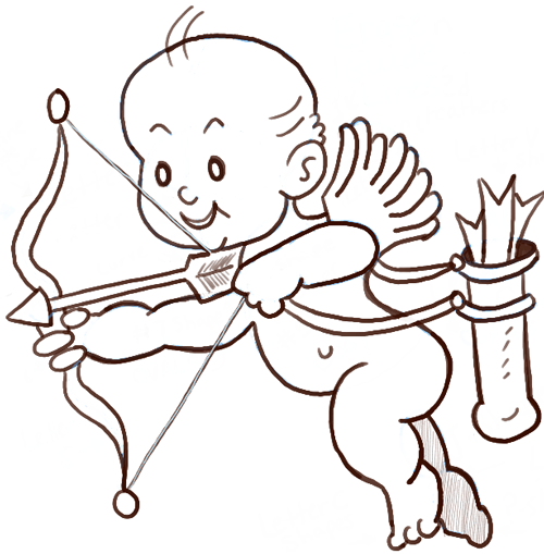 500x509 How To Draw Cupid With A Bow And Arrows