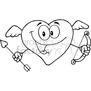 300x300 Royalty Free 102553 Cartoon Clipart Happy Heart Cupid With A Bow