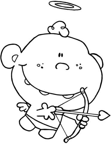371x480 Cartoon Cupid With Bow And Arrow Coloring Page Free Printable