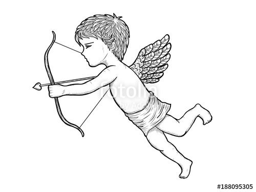 500x375 Cupid Art Highly Detailed In Line Art Style.cupid Vector By Hand