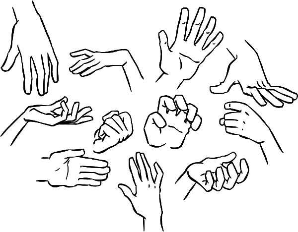 600x468 How To Draw Hands Coloring Pages
