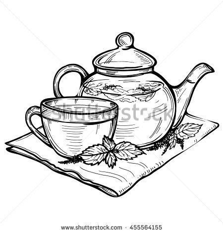 450x470 Drawn Teacup Tea Set
