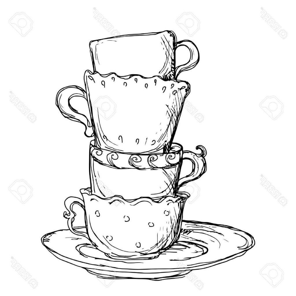 1024x1024 Best Hd Drawn Teacup Crockery Drawing