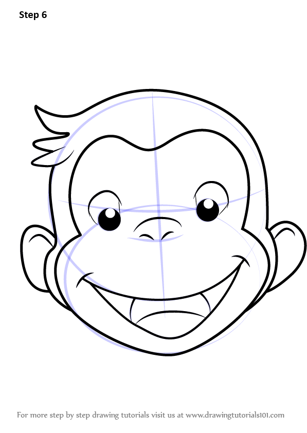 597x842 Learn How To Draw Curious George Face (Curious George) Step By