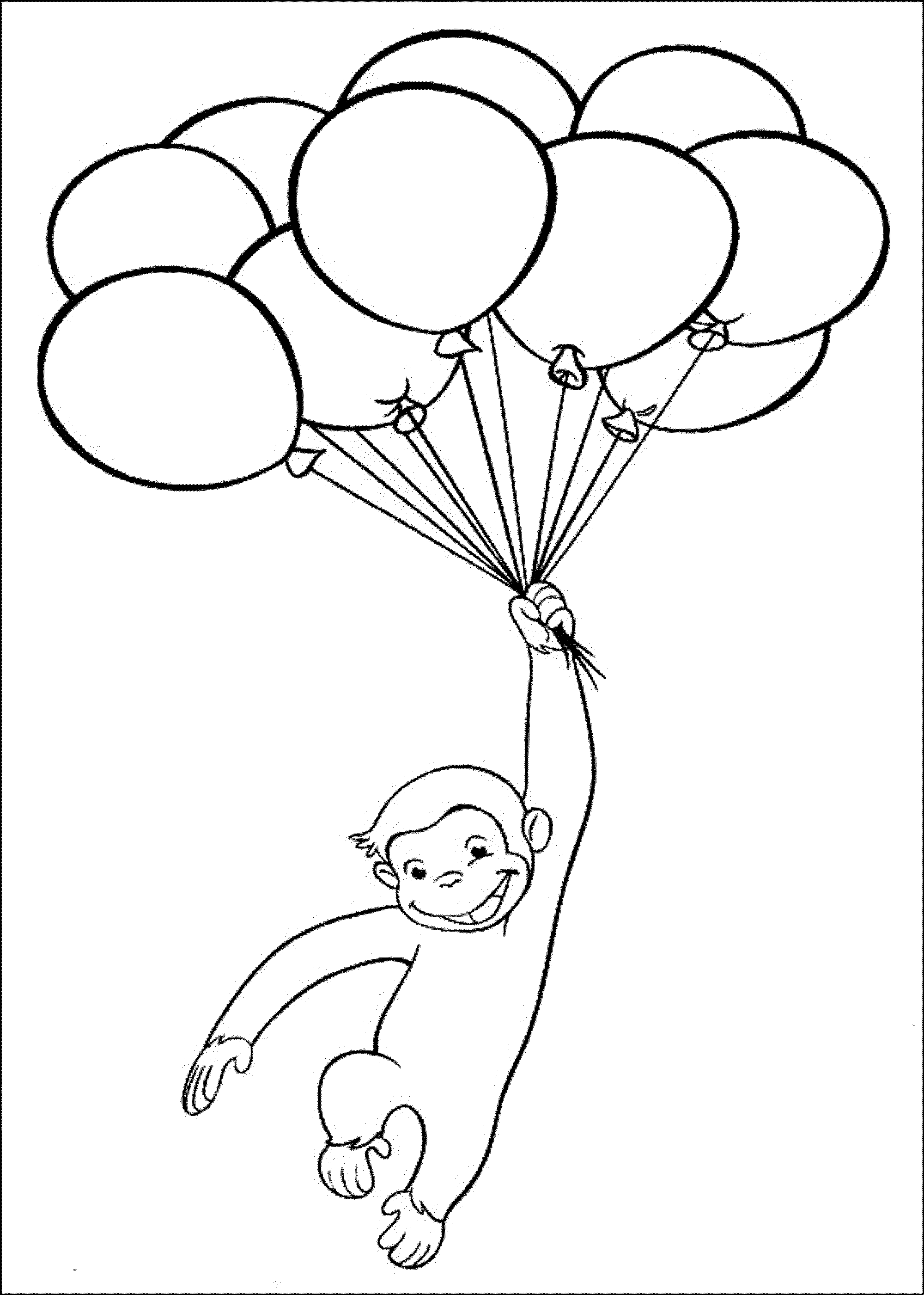 2000x2801 Curious George Playing Baloon Coloring Pages