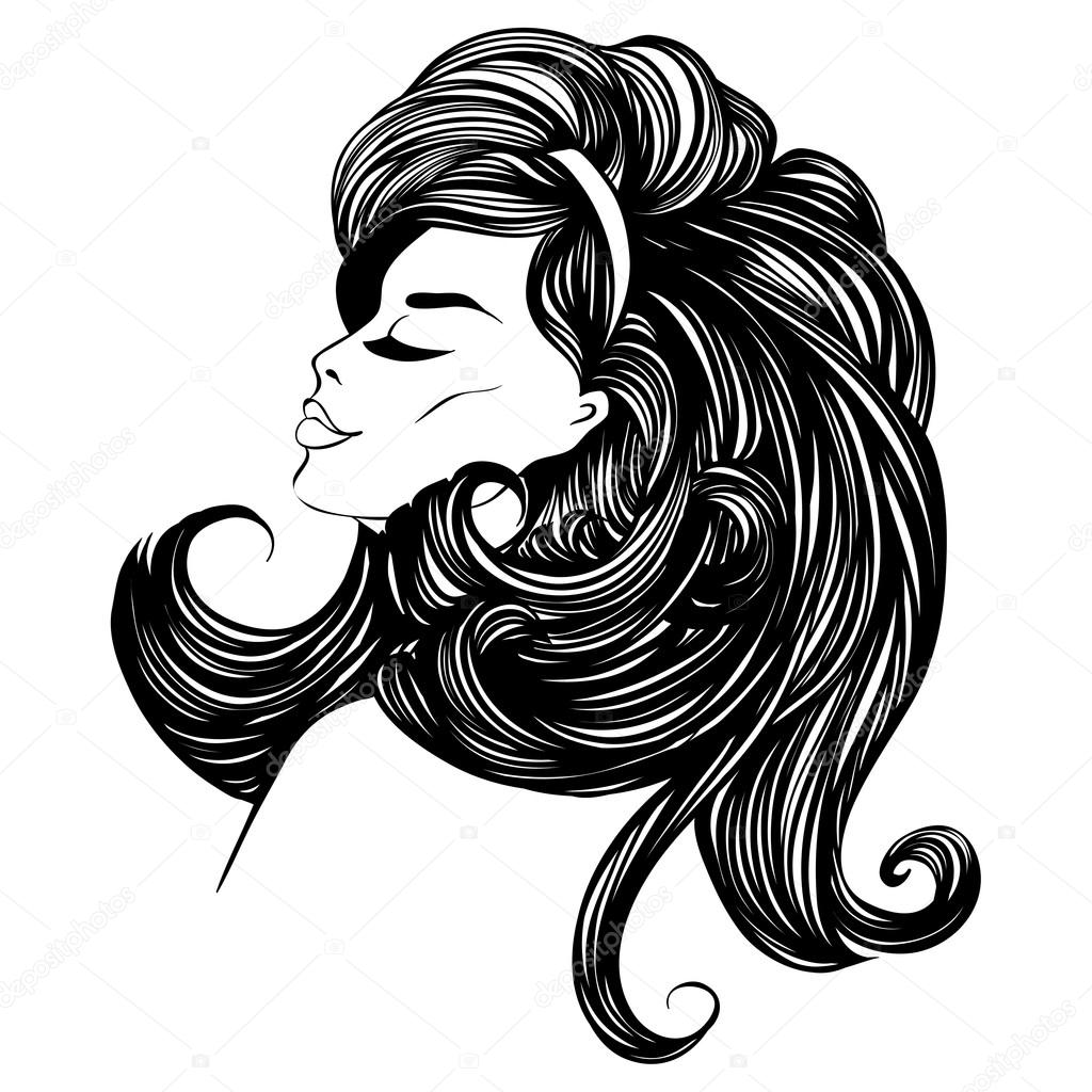 1024x1024 Fashion Beautiful Woman With Long Curly Hair. Stock Vector