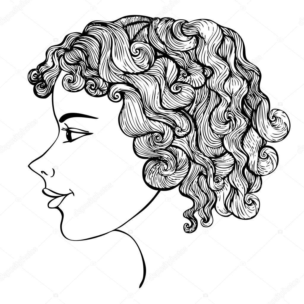 1024x1024 Girl With Curly Hair Ink Drawing Stock Vector Ksanask