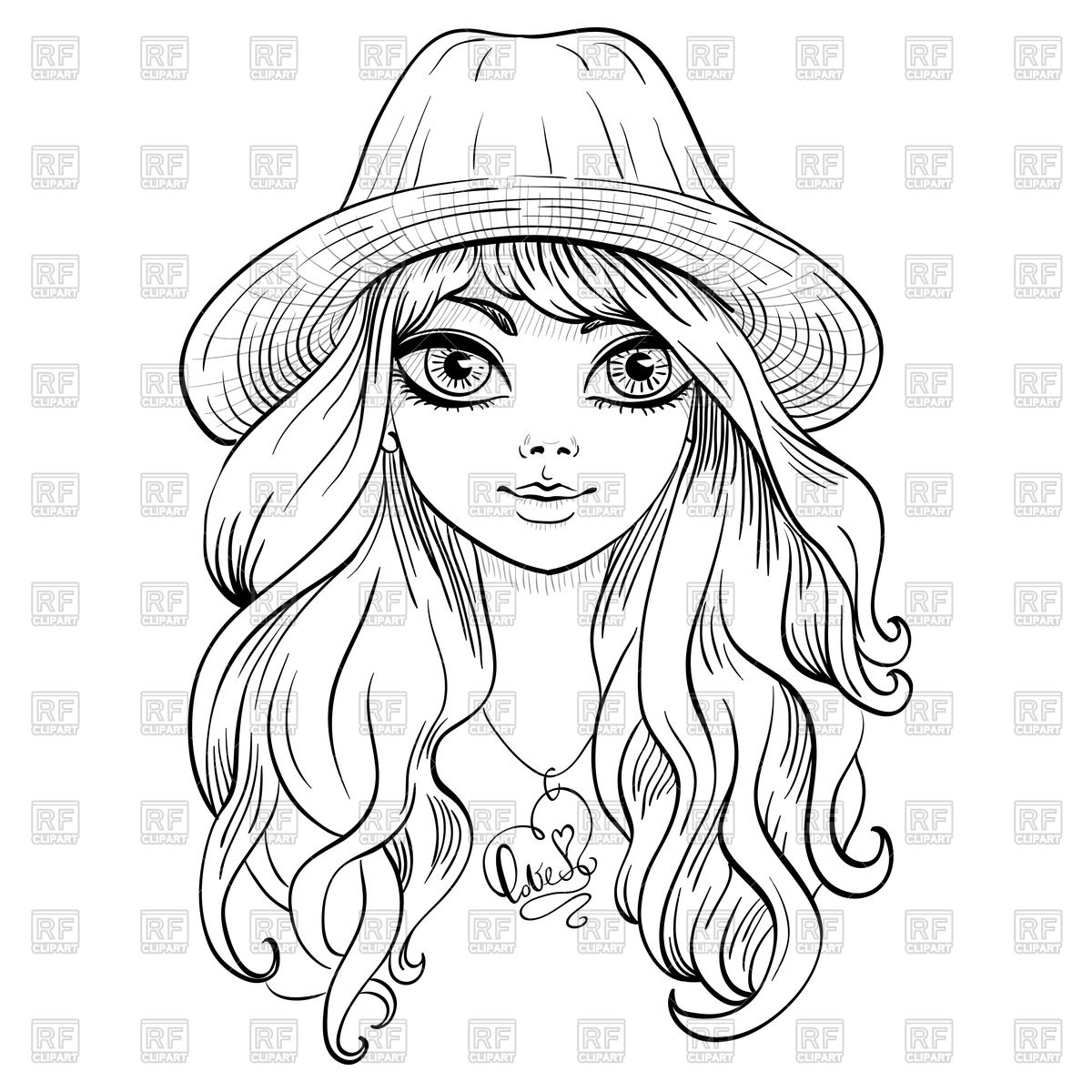 1200x1200 Beautiful Girl In Hat With Long Curly Hair Royalty Free Vector