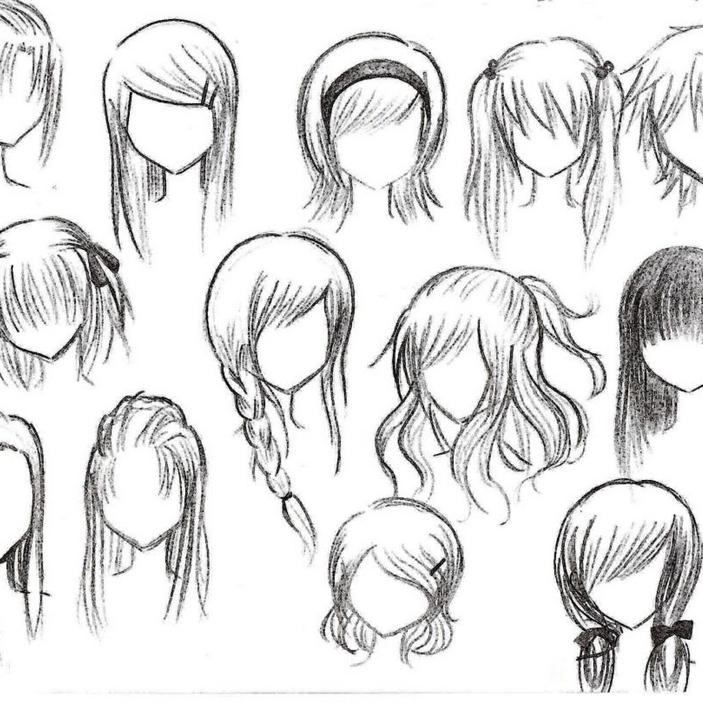 1024x1024 Curly Anime Hair Drawing