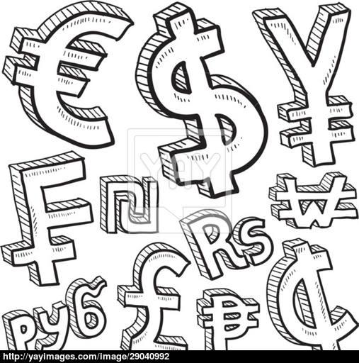 507x512 Currency Symbols Assortment Vector Sketch Vector