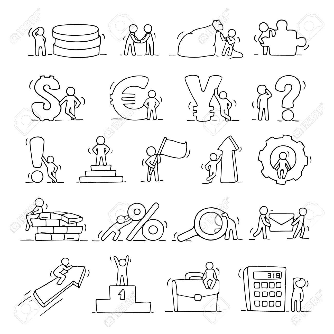 1300x1300 Finance And Business Icons Set Of Sketch Working Little People