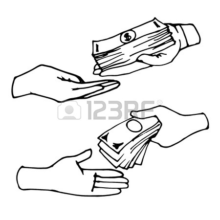 450x450 Hands Giving And Receiving Money, Hand Drawn Vector Doodle Royalty