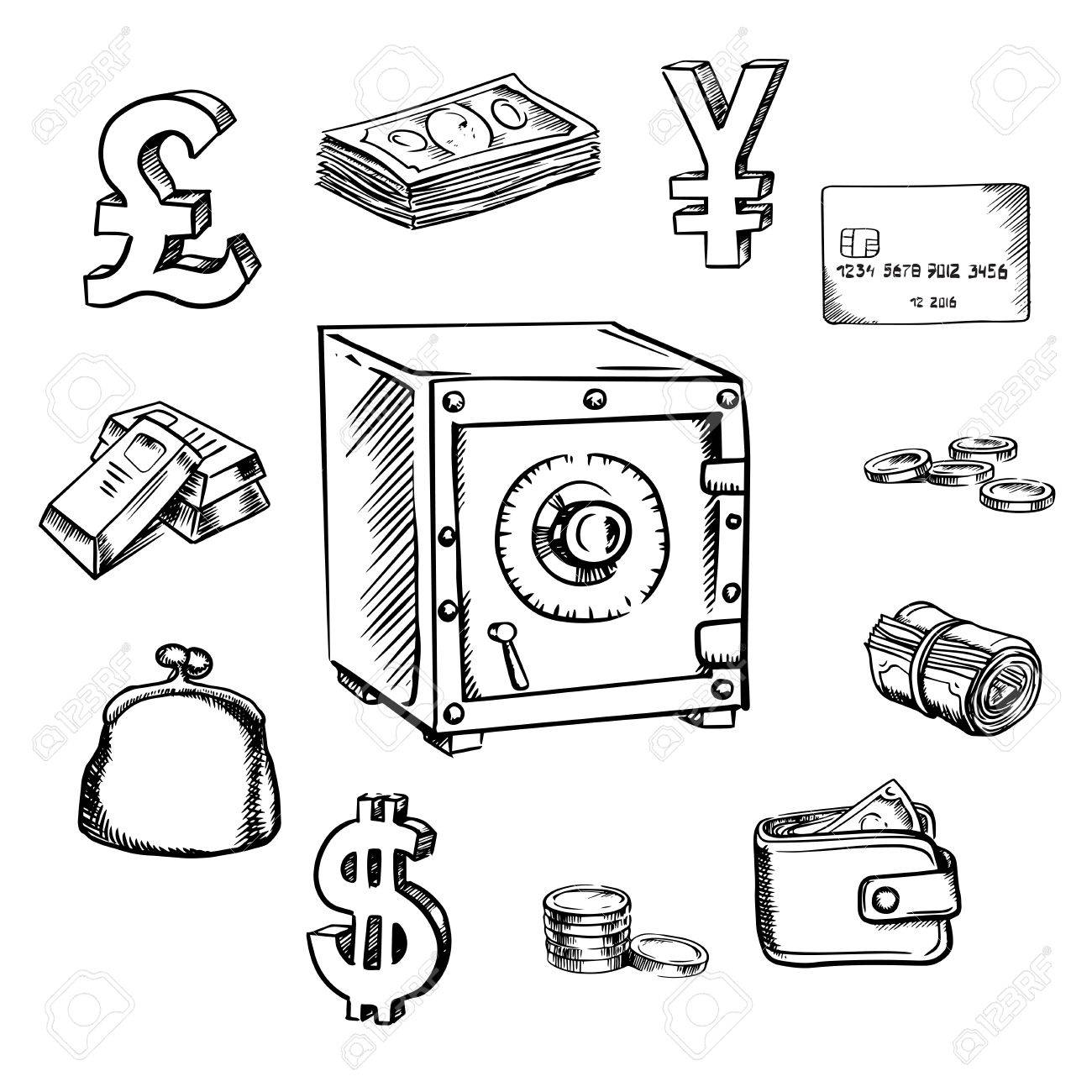 1300x1300 Money, Currency And Finance Sketch Icons With Safe Royalty Free