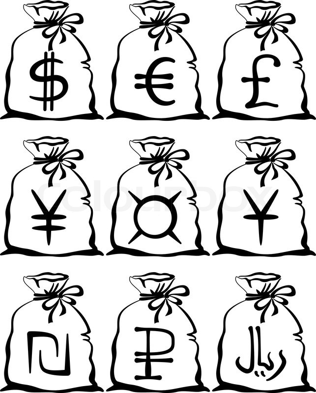 643x800 Set Of Pictogram Money Bags With Currency Signs Dollar, Euro