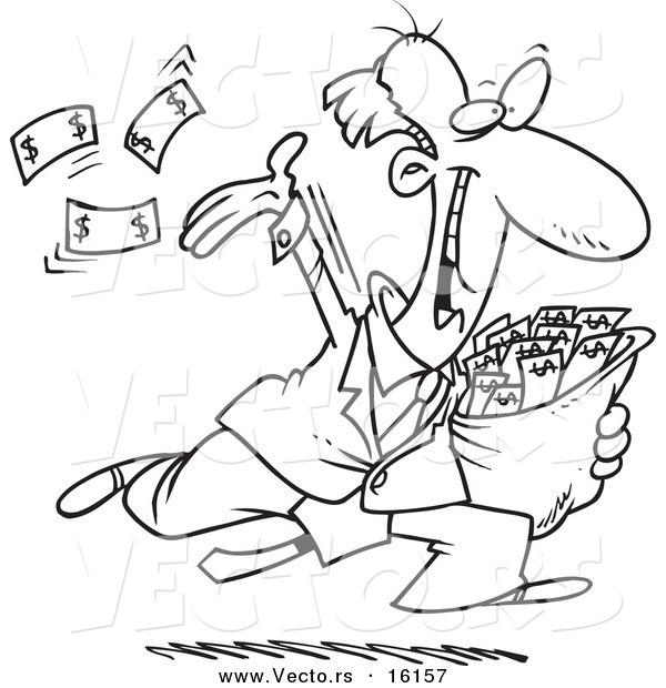 600x620 Vector Of A Cartoon Charitable Rich Businessman Throwing Money