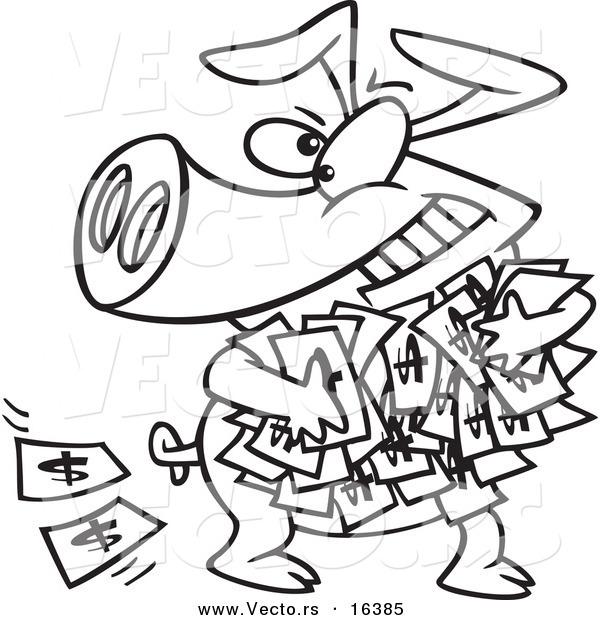 600x620 Vector Of A Cartoon Greedy Pig With Money
