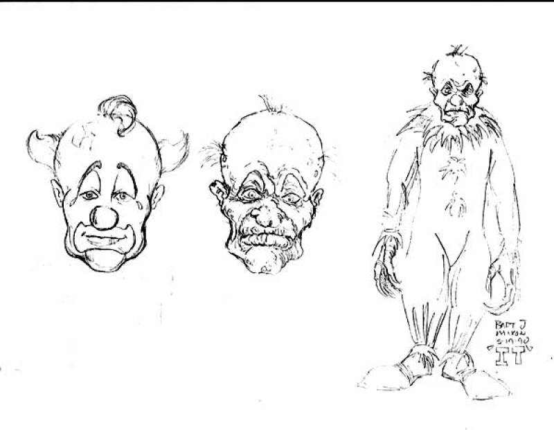 800x621 Pennywise Concept Art Early Pennywise Concept Drawing Behind