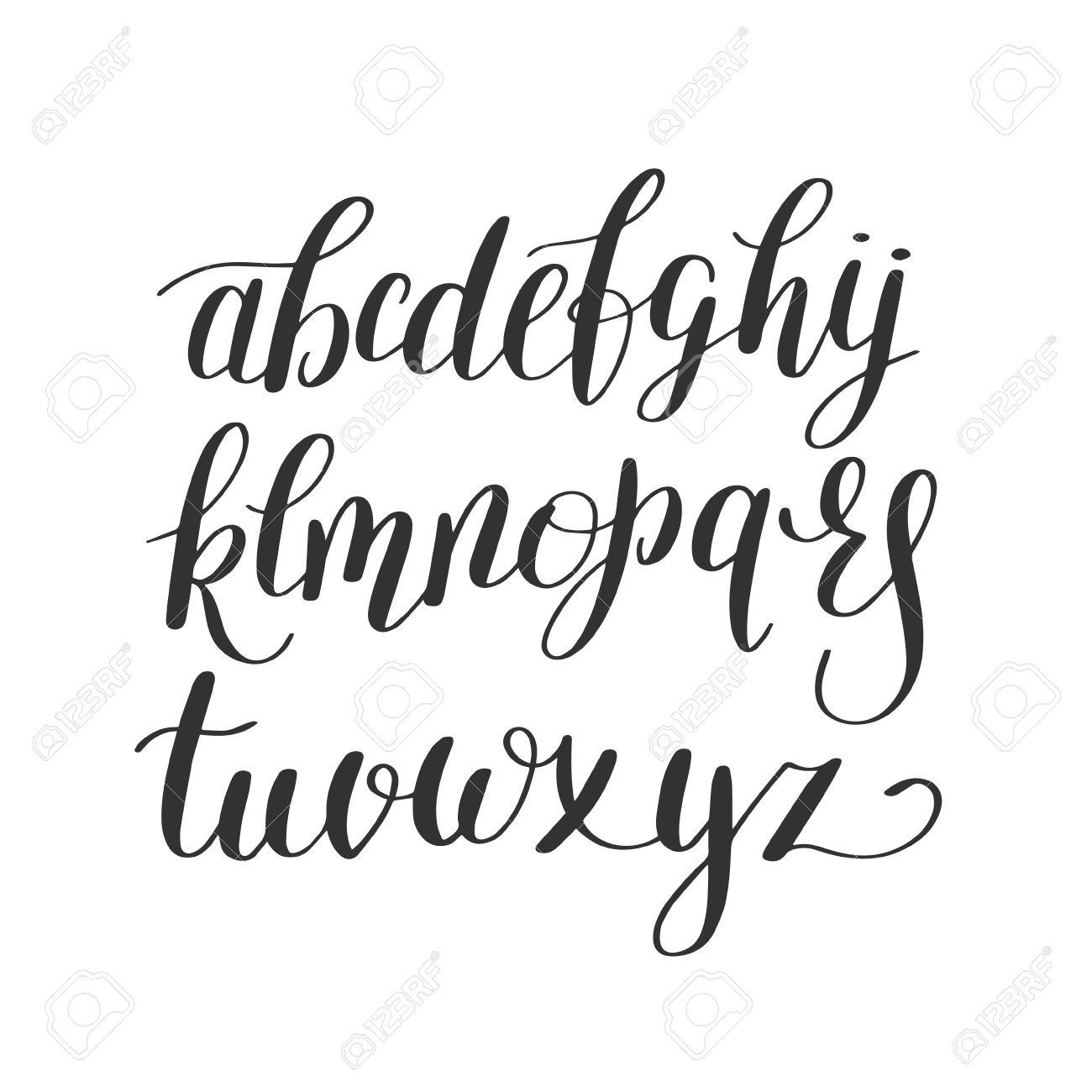 1300x1300 Black And White Hand Lettering Alphabet Design, Handwritten Brush