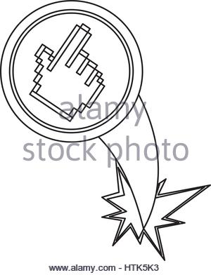 300x392 Cursor Hand Black Web Icon With Golden Border Isolated On White