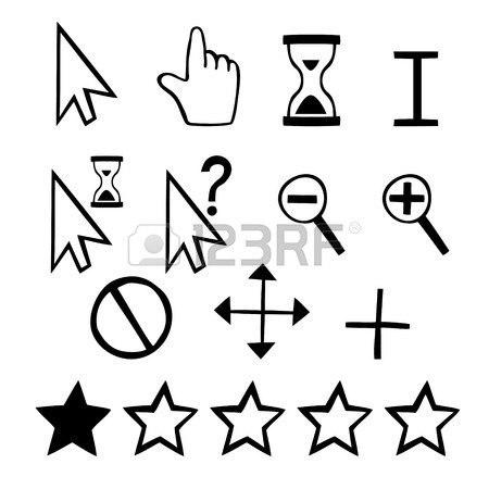 450x450 Hand Drawn Cursors Icons Finger Hand And Magnifier And Rating