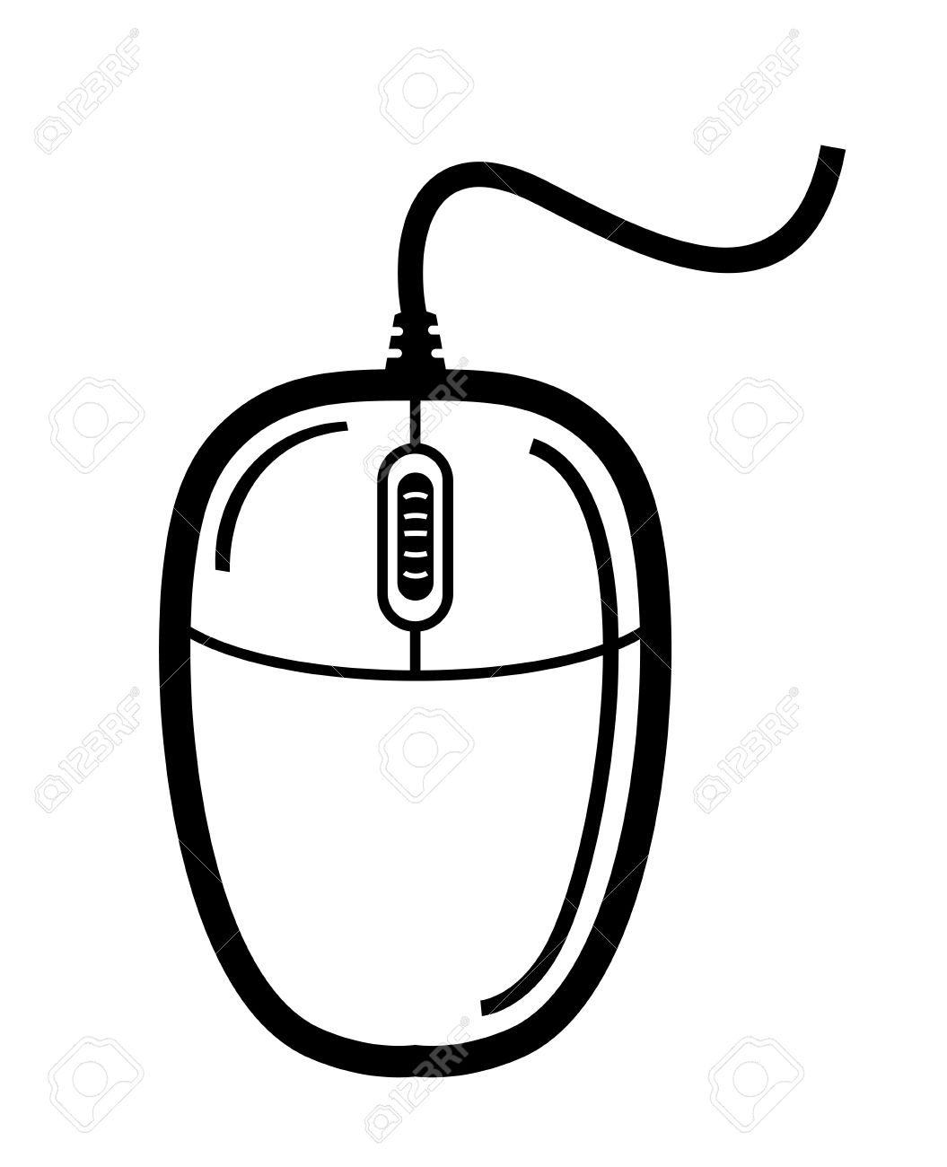 1055x1300 Vector Black Computer Mouse On White Background Royalty Free