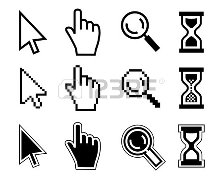 450x359 Vector Icon Hand, Cursor And Hourglass On White Background