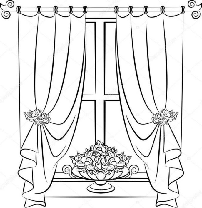 687x708 Curtains Theater Stock Photo Stage Curtain Drawing Related