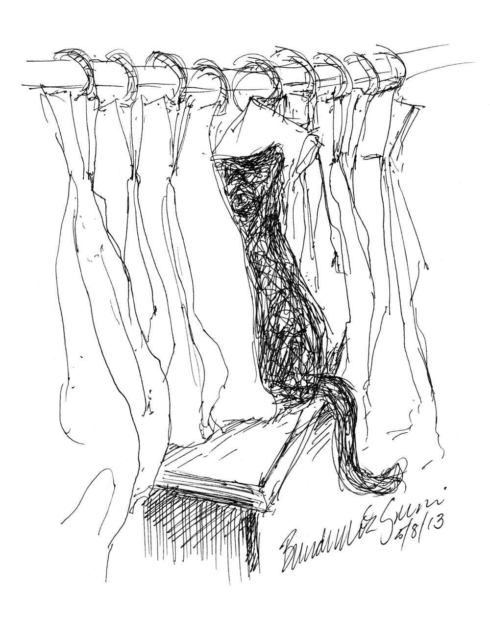 1000x1259 Daily Sketch Behind Curtains ~ The Creative Cat