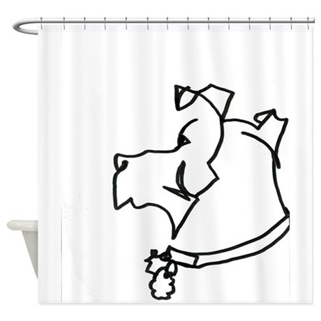 460x460 Line Drawings Of Dogs Pugs Shower Curtains Cafepress