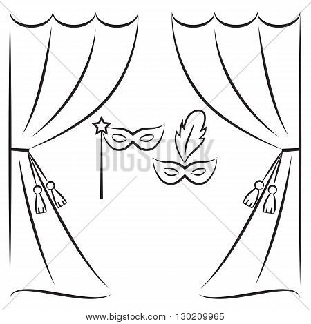 450x470 Theater Curtain Masks Vector Line Vector Amp Photo Bigstock