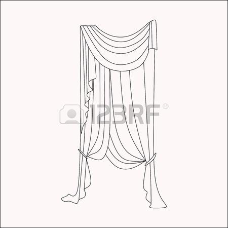 450x450 Curtains Interior Design Sketch. Interior Decoration. Curtains