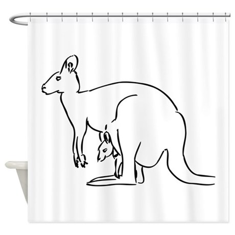 460x460 Kangaroo Drawing Shower Curtains Cafepress