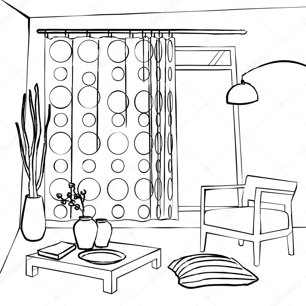1024x1024 the dining room curtains, simple interior sketch — Stock Vector