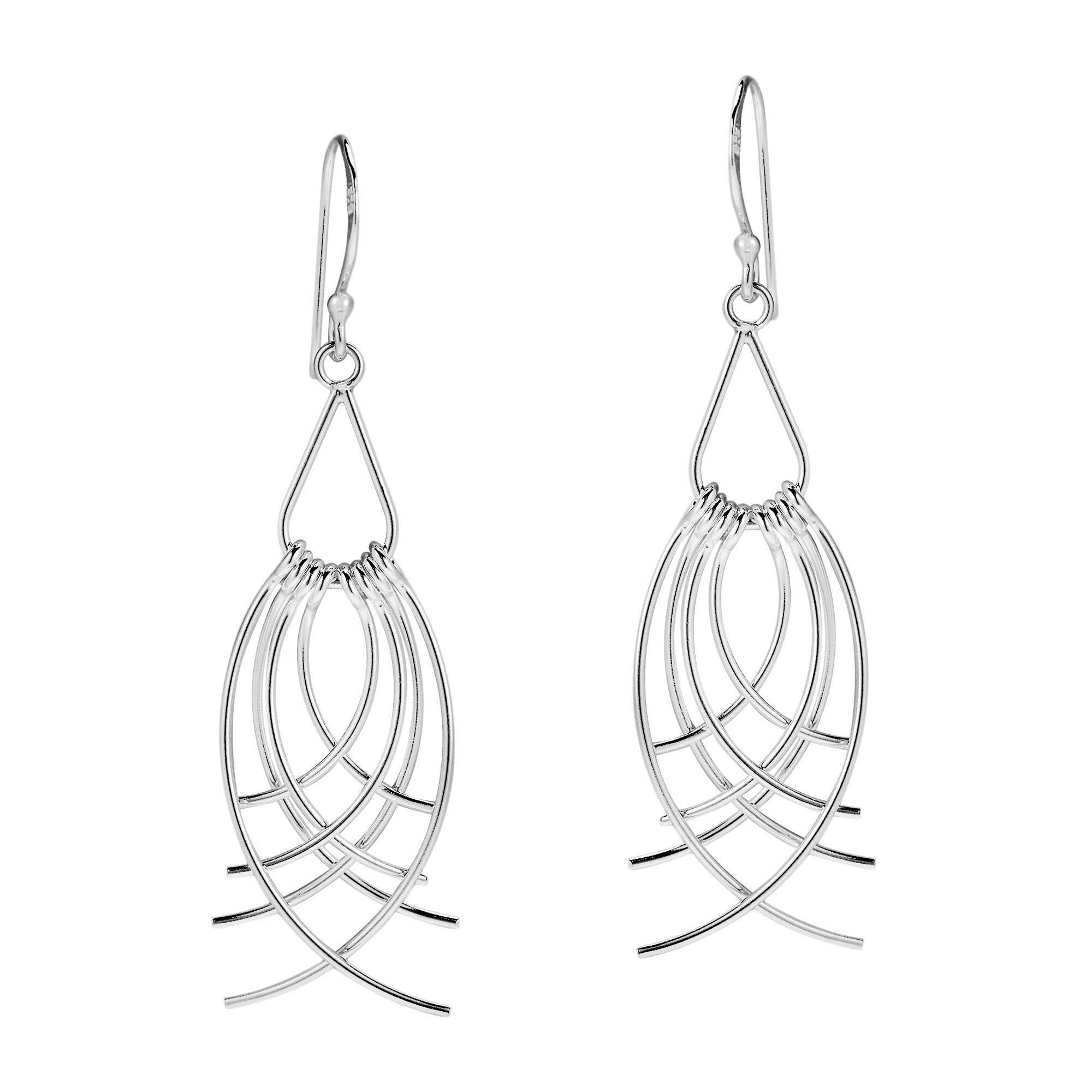 2000x2000 Feather Cascades Curved Strips 925 Silver Dangle Earrings