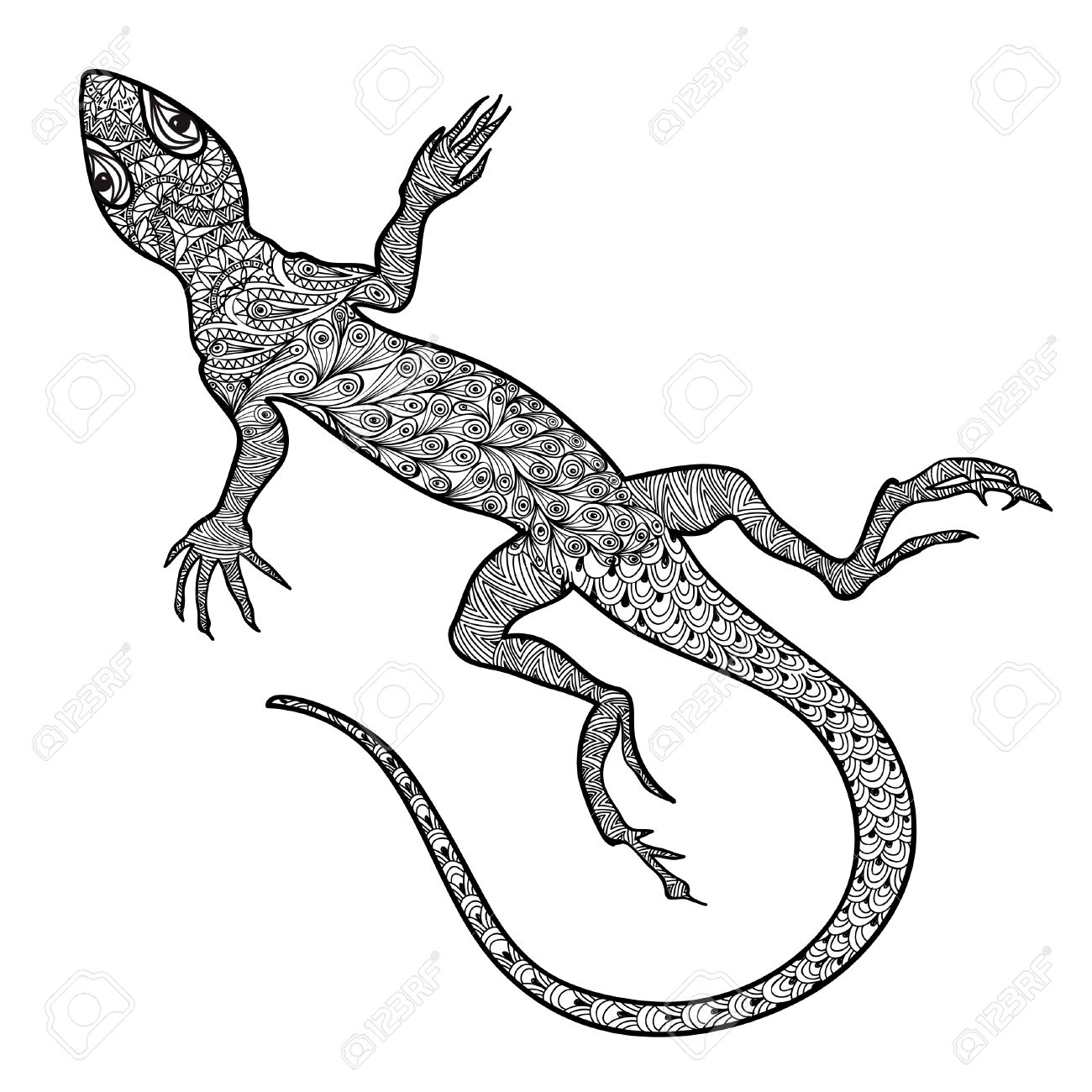 1300x1300 Lizard Isolated. Hand Drawn Vector Salamander With Ethnic Tribal